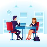 Employee contender woman and impressed employer interviewer. Job interview, meet at table cartoon vector concept. Employee contender woman and impressed Royalty Free Stock Photos