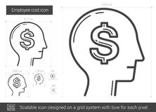 Employee cost line icon. Royalty Free Stock Photos