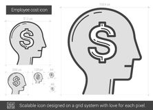 Employee cost line icon. Royalty Free Stock Images