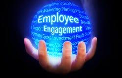 Employee Engagement blue background plan. Employee Engagement Marketing globe yellow blue globe Stock Photos