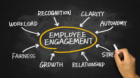 Employee engagement diagram hand drawing on chalkboard Royalty Free Stock Image