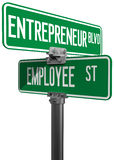 Employee Entrepreneur business decision sign. Change career directions employee entrepreneur street direction signs Royalty Free Stock Photo