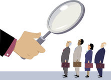 Employee evaluation. Business people standing in line under a magnifying glass, as a metaphor for employee performance evaluation, EPS 8 vector illustration, no Royalty Free Stock Photo