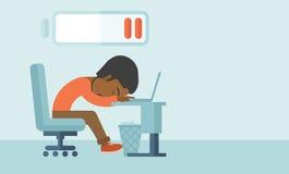 Employee fall asleep at his desk Royalty Free Stock Photos