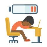 Employee fall asleep at his desk Stock Image