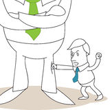 Employee fighting gigantic businessman. Illustration of a monochrome cartoon character: Tiny employee fist fighting his gigantic boss Stock Photos