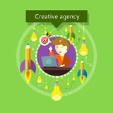 Employee with Finger Up, Bulbs, Pencils Around. Concept of Creative agency. Employee raised a finger up. Eureka. Bulbs and pencils with flames around. For web Royalty Free Stock Photos