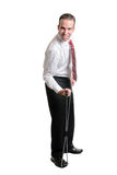 Employee Fitness. An employee using a resistance band for exercise, isolated against a white background Stock Photo
