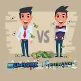 Employee and freelance. character design -  Stock Images