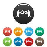 Employee with gear icons set color vector. Employee with gear icon. Simple illustration of employee with gear vector icons set color isolated on white Stock Photo