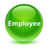 Employee glassy green round button Stock Image