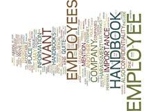 Employee Handbook Word Cloud Concept. Employee Handbook Text Background Word Cloud Concept Stock Photo