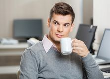 Employee Having Coffee In Call Center Royalty Free Stock Photo