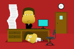An employee hiding from his boss. Employee hiding under his desk and the manager find for him Royalty Free Stock Image