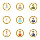Employee icons set, cartoon style Stock Photos
