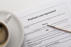 Employee loan agreement Royalty Free Stock Image