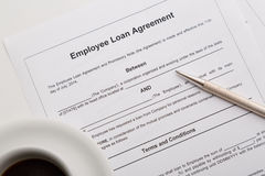 Employee loan agreement Stock Photo