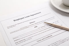 Employee loan agreement Stock Image