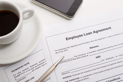 Employee loan agreement Royalty Free Stock Photography
