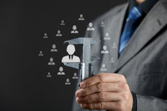 Employee merit success growth. Human resources officer measure career growth, employee improving, merit for company or success of employee concept Stock Photos