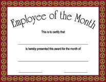 Employee of the month award with  Royalty Free Stock Images