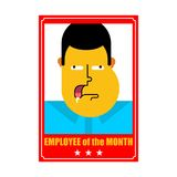 Employee of month. Best worker. Portrait in frame on wall. Vecto stock illustration