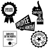 Employee of the month black and white icons and stamps. Royalty Free Stock Photography