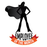 Employee of the month female isolated on white. EPS 10 vector royalty free stock illustration perfect for promotion, ads, marketing, poster, motivation, awards Stock Image