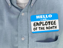 Employee of the Month Name Tag Blue Shirt Welcome Onboarding Sta Stock Image