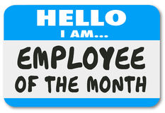Employee of the Month Name Tag Sticker Best Top Worker Royalty Free Stock Image