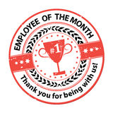 Employee of the month stamp / sticker for print. Employee of the month  - elegant golden red award ribbon Stock Photography