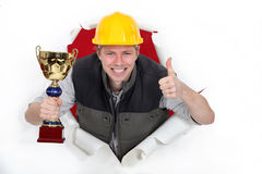 Employee of the month. Wins an award Royalty Free Stock Photos