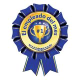 Best employee award ribbon designed for Spanish speaking employees. Employee of the Month written in Spanish - award ribbon. Print colors used Stock Photos