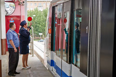 Employee of Moscow monorail system Stock Photos