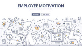 Employee Motivation Doodle Concept. Doodle design style concept of employee motivation, success, achieving career goals. Modern line style illustration for web Royalty Free Stock Image