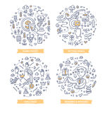 Employee Motivation Doodle Concepts. Doodle  illustrations of different techniques to encourage and inspire employee motivation such as: share profit, give Stock Photos