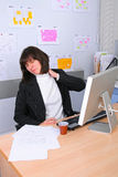 Employee of office. The employee of office with a sick neck Stock Images