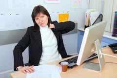 Employee of office. The employee of office with a sick neck Stock Photography