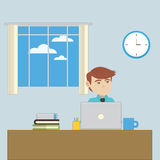 An employee in the office workplace. Vector illustration Royalty Free Stock Photo
