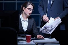 Employee and paperwork Stock Image