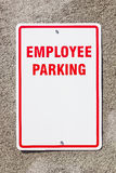 Employee Parking Sign on Wall Royalty Free Stock Image