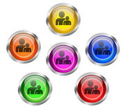 Employee People Buddy Icon Buttons. Set of shiny buttons with people, employee, buddy icon buttons different colors stock illustration