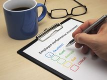 Employee performance assessment - excellent. Rating excellent! in an employee performance assessment royalty free stock photography