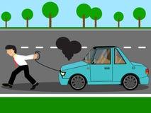 Employee pulling damage car stock illustration