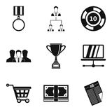 Employee of quarter icons set, simple style Royalty Free Stock Image