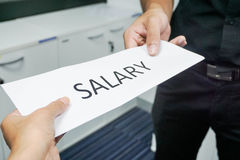 Employee receive salary from the boss. Icon of employee receive salary from the boss Royalty Free Stock Image
