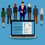 Employee, recruitment, human, resource, selection, interview, analysis. Vector illustration of business people Stock Image