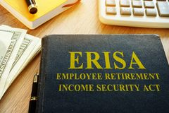 Employee Retirement Income Security Act ERISA. Employee Retirement Income Security Act ERISA and calculator Royalty Free Stock Images
