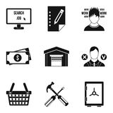 Employee search icons set, simple style. Employee search icons set. Simple set of 9 employee search vector icons for web isolated on white background Stock Photography