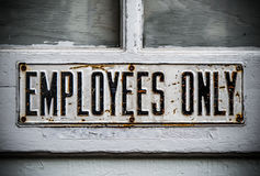 Employee Only Sign Stock Photography